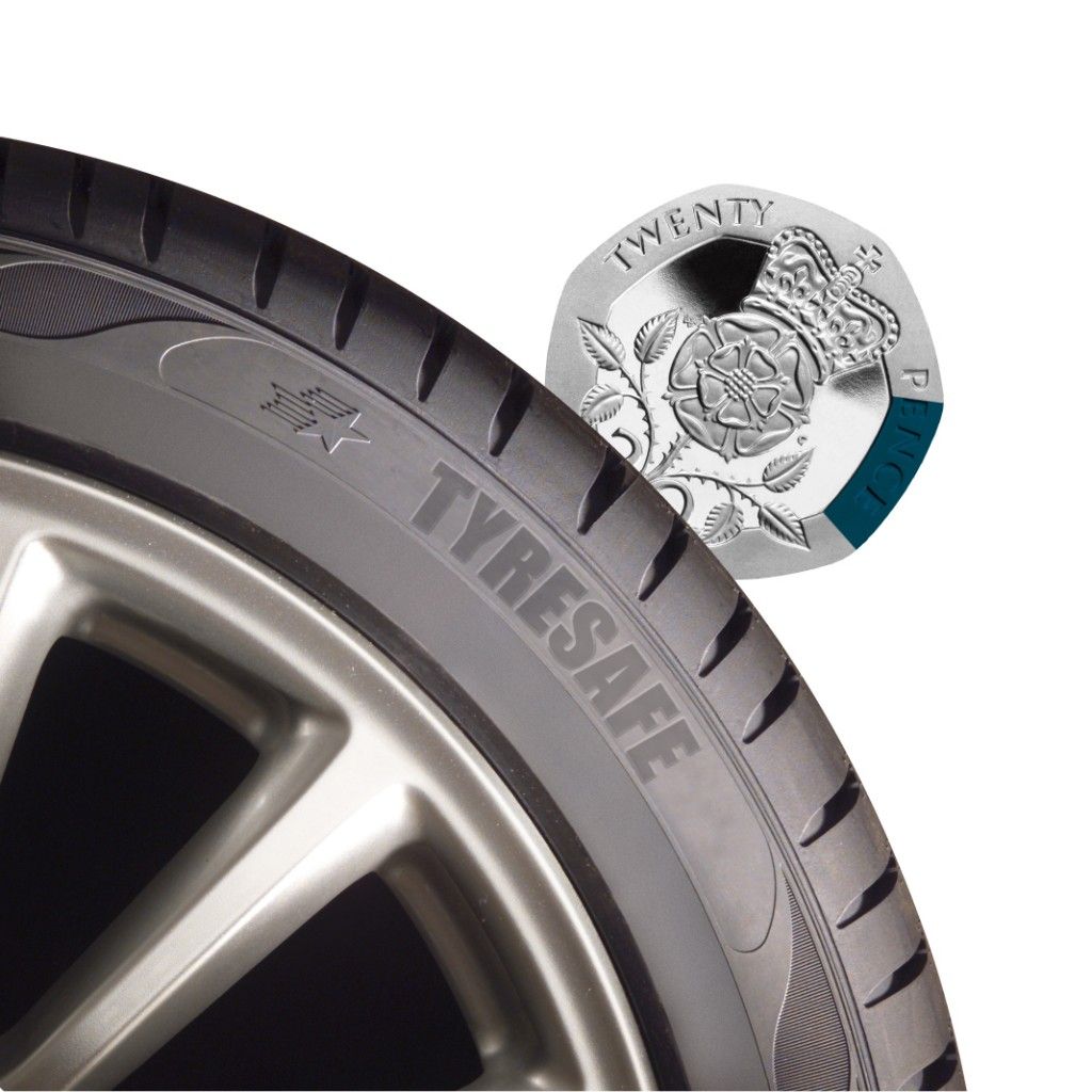 Tread deep enough if rim of 20p piece isn't visible (Picture © TyreSafe)