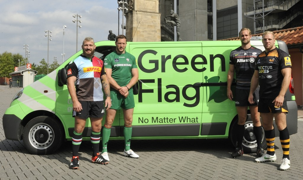 Head to head. From the left: Joe Marler; George Skivington; Alistair Hargreaves and James Haskell get ready to rumble
