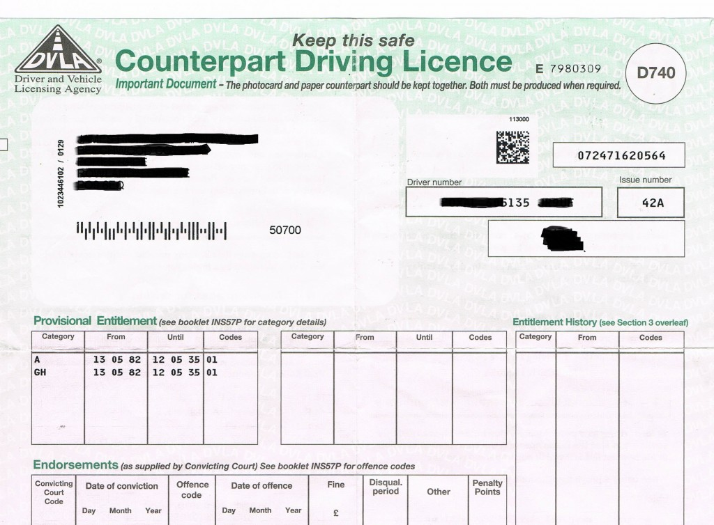 Paper counterpart to the driving licence