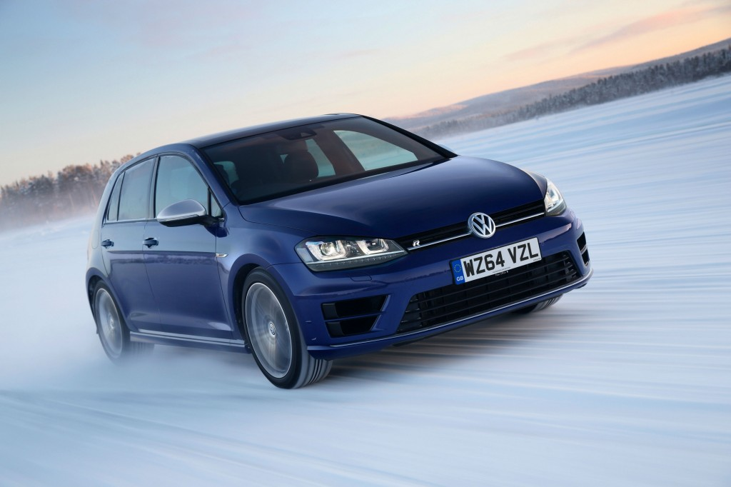 Volkswagen Golf R driving on snow-covered roads