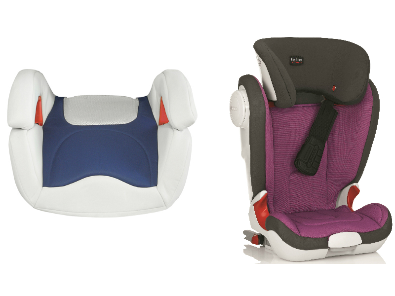 Britax compared a basic booster seat with a high-backed booster seat