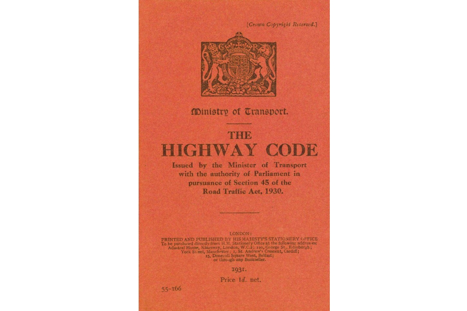 The cover of the first edition of the Highway Code, introduced in 1931