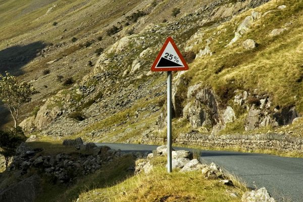When you see this sign for a steep hill how should you descend?