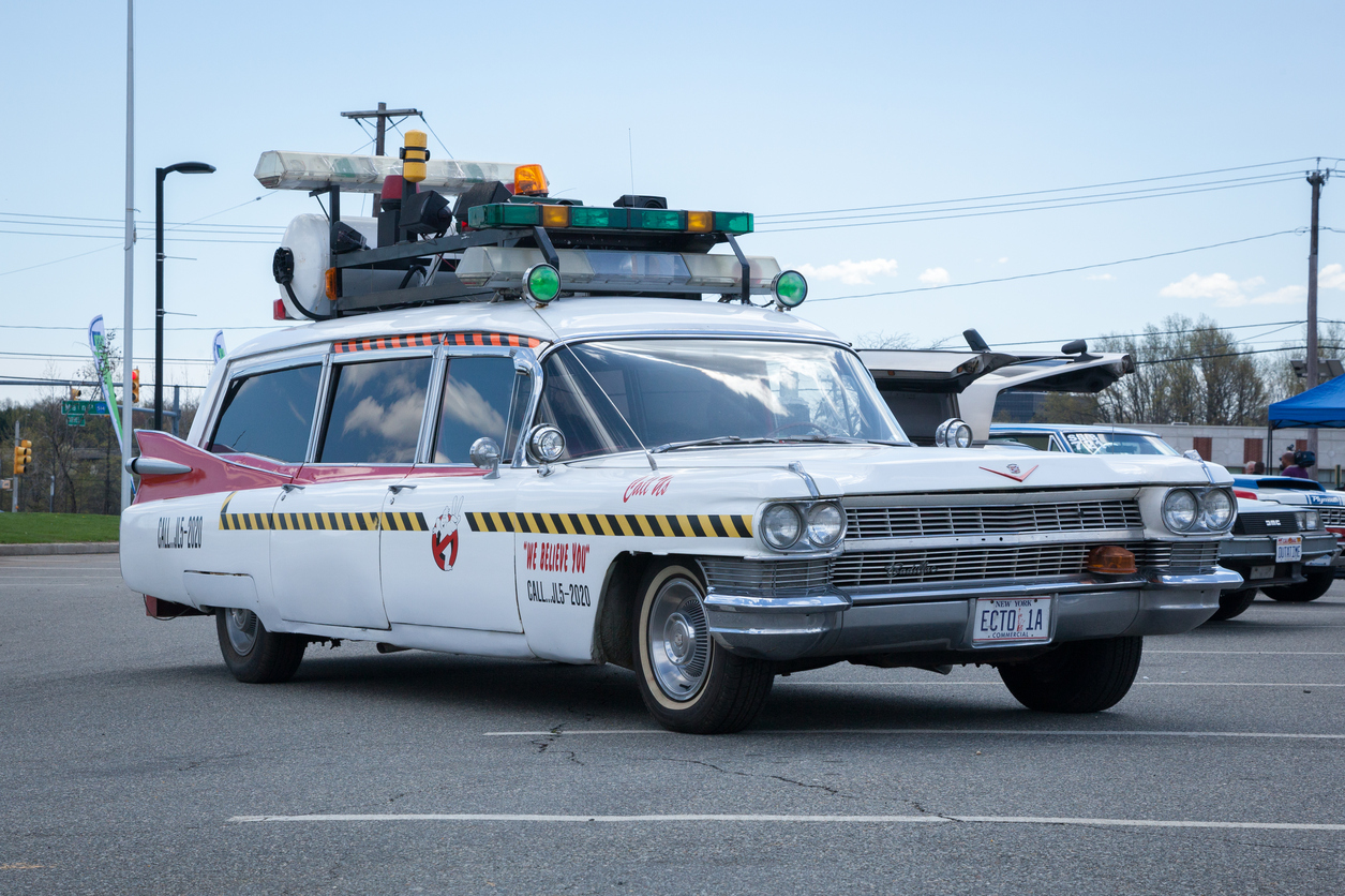 If you called Ghostbusters, what car would they arrive in?
