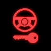 Dashboard warning light for the steering lock system