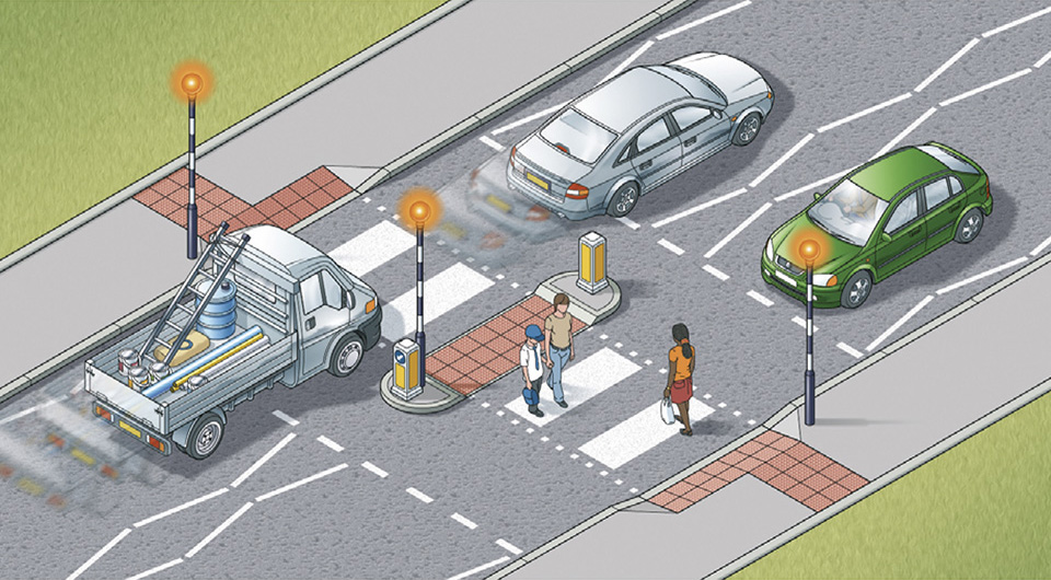 Pedestrians, how should you cross a zebra crossing with an island?